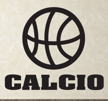 Adesivo murale che raffigura l'icona di una palla da basket accompagnata dalla scritta calcio. Una decorazione simpatica per gli appassionati di sport