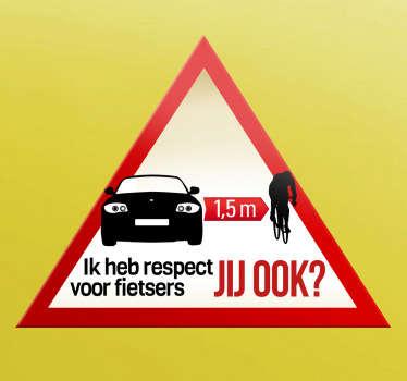 Sticker gevarendriehoek respect fietsers