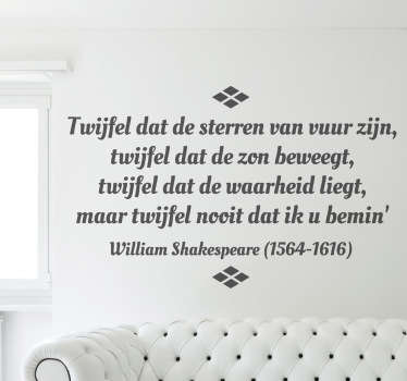Sticker decoratie tekst Shakespeare Twijfel