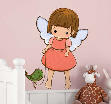 Sticker kinderkamer engeltje met vogel