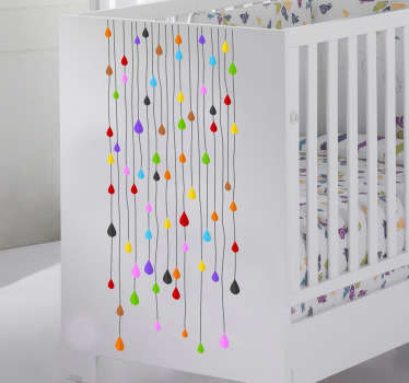 Strips of Colourful Drops Decorative Sticker