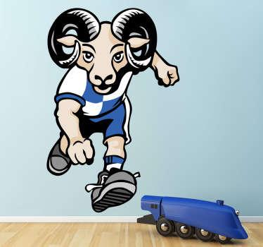 A los aficionados del equipo de fútbol del Sabadell se les conoce como laneros por ser una tradicional cuna de empresas téxtiles. Tenvinilo.com reinterpreta este concepto para crear un vinilo con mascota en forma de carnero.