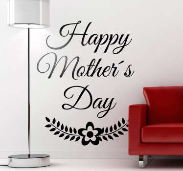 "Adesivo decorativo murale con la scritta in inglese ""happy mother's day""."