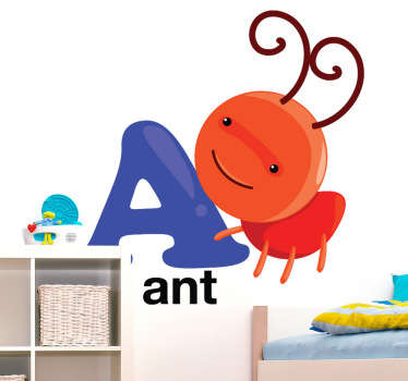 Kids Stickers - Letters of the alphabet accompanied by cartoons collection. Ideal decals to decorate nurseries or play areas. A for ant sticker showing a picture of a cute ant to help kids learn their ABCs.