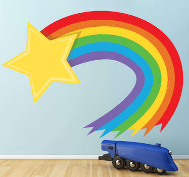 A superb shooting star design from our collection of rainbow wall stickers to decorate the bedroom or playroom of the little ones.  A colourful decal to give your children's bedroom colour and create a joyful atmosphere where they can all play and have much more fun!