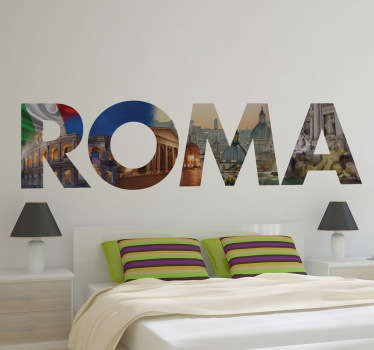 "Original Rome wall sticker design from Tenstickers. This interesting and unique Italian wall sticker shows the word ""Roma"", written clearly with photos of the Italian flag, the Coliseum and more behind them to make your room look modern and eye-catching!"