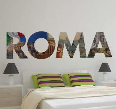 Vinil decorativo texto Roma com imagens