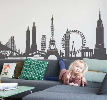 Locations wall stickers - A collage of some of the world's most iconic landmarks. San Francisco, London, New York, Paris, Berlin and more. Available in a various colours and sizes.