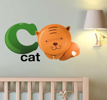 Vinil decorativo gato letra C