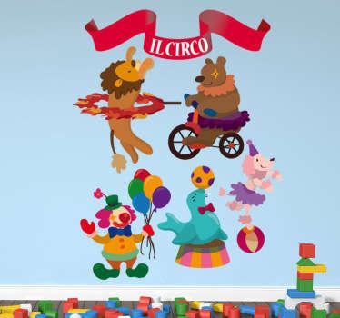Collezione di stickers decorativi che raffigurano diversi elementi relazionati al mondo circense.