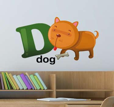 Vinilo decorativo infantil de las letras del abecedario acompañadas por dibujos animados.Letra D con un perro con la lengua fuera apunto de morder un hueso.