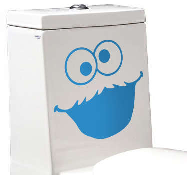 Cookie Monster sticker for decorating the toilet and adding a unique and fun touch to your bathroom. This funny decal shows the famous Sesame Street character smiling to add something playful to what would otherwise be a boring part of your home.