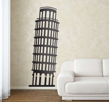 Illustration of a famous touristic monument in Italy, Tower of Pisa. A brilliant monochrome design from our collection of travel wall stickers.