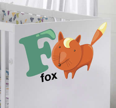 Vinil decorativo com as letras do abecedário acompanhadas de animais. Autocolante com a letra F e com o animal Fox (raposa).