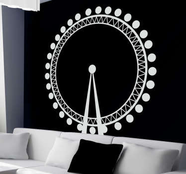 Decals - Vector silhouette illustration of the London Eye also known as the Millennium Wheel. Available in various sizes and in 50 colours.
