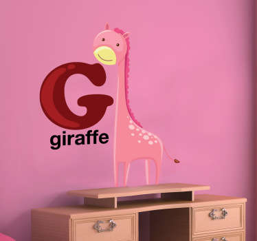 Decorative alphabet decal with the letter G accompanied by a giraffe. Fantastic giraffe wall sticker to decorate your child´s room.