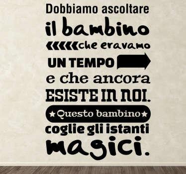 Sticker decorativo bambino Paulo Coelho