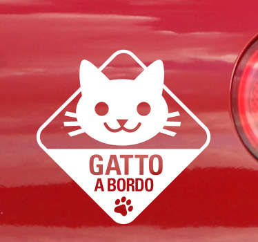 Sticker linea gatto a bordo