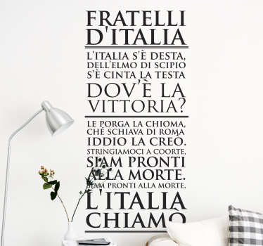 Vinilo decorativo himno de Italia