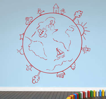 Decals - Illustration of the world through the eyes of a child. Fun and playful design ideal for decorating areas for children.