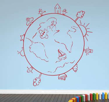 Globe Travel Sketch Decal