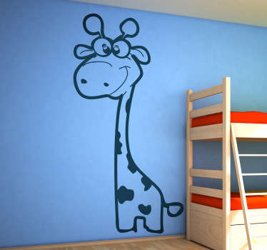 Cute baby giraffe wall sticker to decorate the kids' bedroom or play area. If you are looking for a decal that is original and will give your room a unique appearance then you have found it! This giraffe decal will provide a fun environment for your children and really bring the room together!