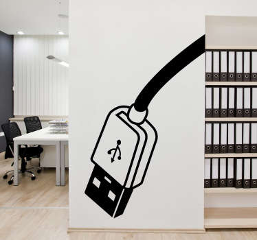 A decorative wall decal of a USB cable for those that work in IT or for those who sell computer accessories. Perfect as office decor
