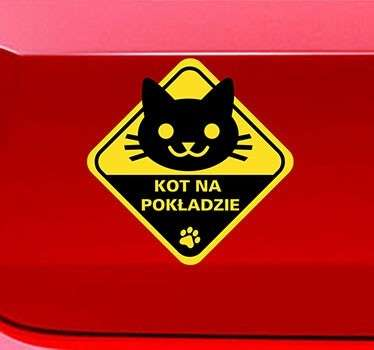 Zabawna naklejka na samochód, dzięki której poinformujesz innych kierowców, że przewozisz swojego zwierzaka. Naklejkę możesz umieścić zarówno na szybie jak i na aucie.