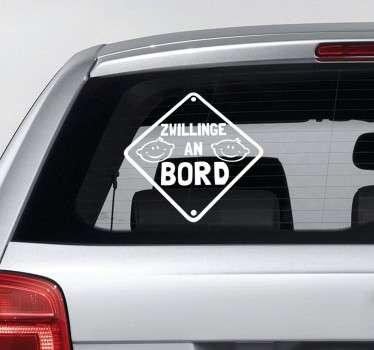 Haben Sie Zwillinge im Auto? Dann ist dieser Sticker genau das Passende für Sie. Klassisch, schlichtes Design. Einfarbig in der Farbe Ihrer Wahl.