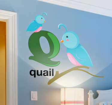 Decorative alphabet sticker with the letter Q accompanied by quails. Fantastic animal decal to decorate your child´s room.