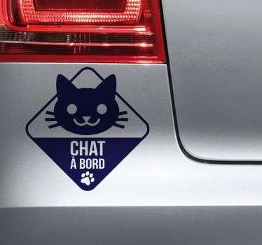 Sticker dessin chat à bord
