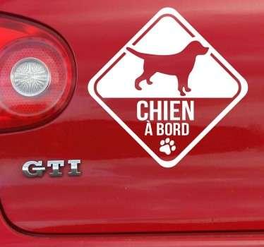 Sticker chien à bord inversé