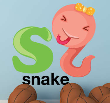 "Kids Stickers - Alphabet themed design. The letter ""S"" accompanied a playful and cheeky snake.  Great for personalising kids´bedrooms."