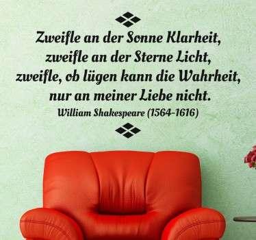 Liebeszitat Shakespeare Aufkleber