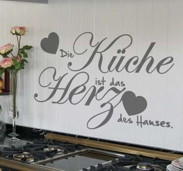 Sprüche für die Küche. Die Küche ist das Herz des Hauses. Verzieren Sie Ihre Küche mit diesem besonderen Text Wandtattoo.