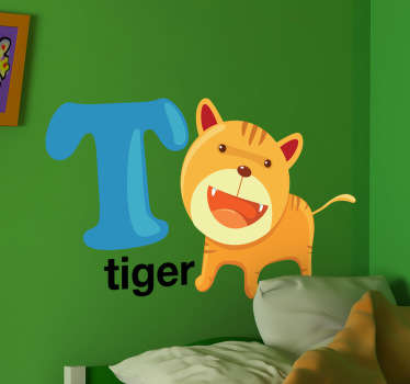 "Kids Stickers - Alphabet themed design. The letter ""T"" accompanied a playful and cheeky tiger.  Great for personalising kids´bedrooms."