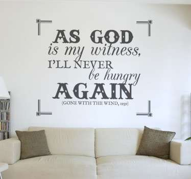 Wall Stickers - A quote from the classic movie Gone With The Wind. Famous movie lines and quotes.