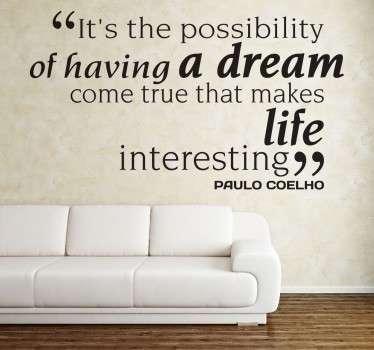 Paulo Coelho Quote Wall Sticker