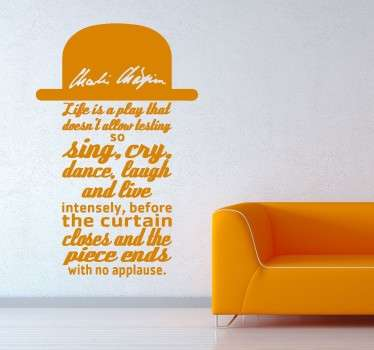 Charlie Chaplin Quote Wall Sticker