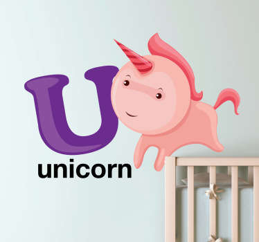 A superb alphabet theme design illustrating letter 'U' accompanied by a playful unicorn from our collection of unicorn wall stickers!