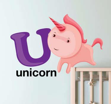 Letter U for Unicorn Kids Sticker