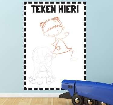 Sticker kinderen teken hier