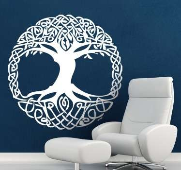 Celtic tree wall sticker perfect for decorating your bedroom, living room and more! Monochrome wall sticker available in various sizes and 50 different colours.