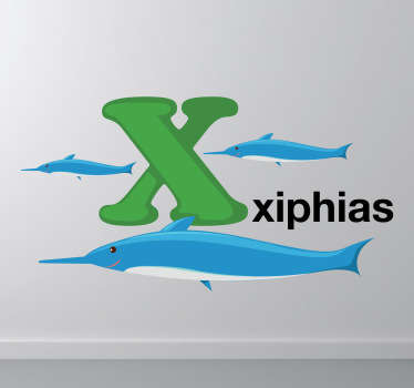 Decorative alphabet sticker with the letter X accompanied by xiphias. Fantastic animal decal to decorate your child´s room.