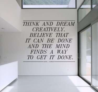 Sticker tekst dromen creativiteit