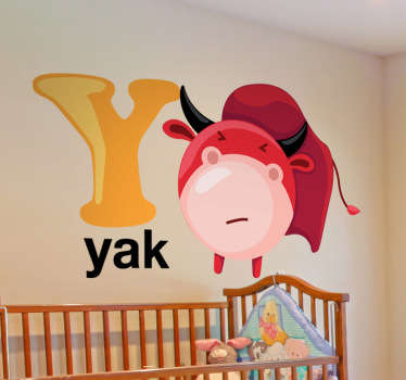Decorative alphabet sticker with the letter Y accompanied by a yak. Fantastic animal decal to decorate your child´s room.