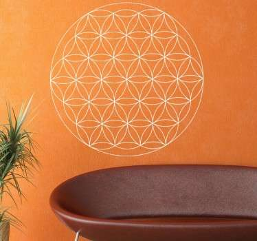 Decorative flower of life wall sticker. A geometric wall decal composed of 19 full circles of the same diameter overlapping. An artistic way of decorating your home or business. This interesting design is available in multiple sizes and 50 different sizes.