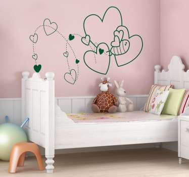 Illustration outline of a bee surrounded by hearts. Brilliant heart wall art decal for kids from our collection of heart stickers.