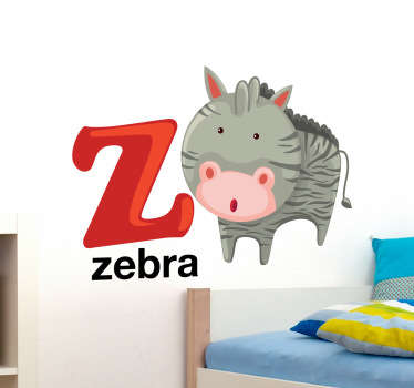 Decorative alphabet sticker with the letter Z accompanied by a zebra. Fantastic animal decal to decorate your child´s room.