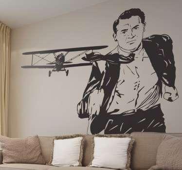 Vinilo decorativo escena avión Hitchcock